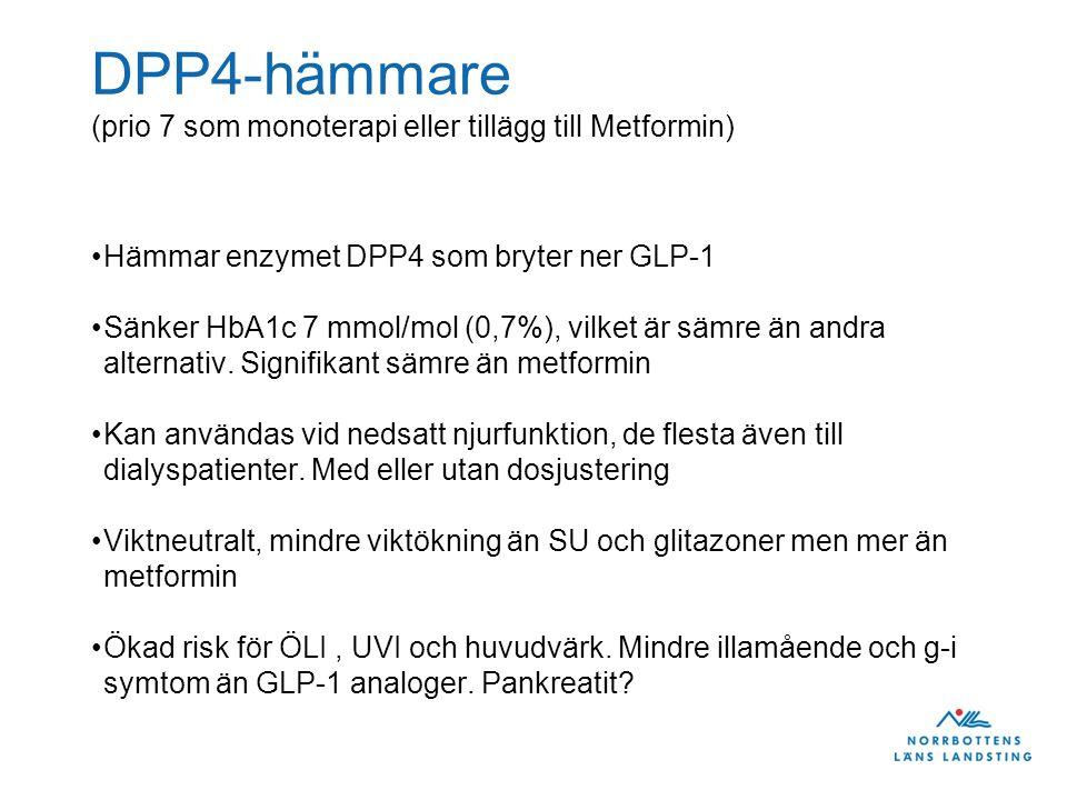 DPP4-hämmare (prio 7 som monoterapi eller tillägg till Metformin)