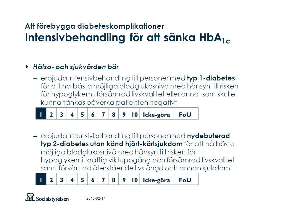 Att förebygga diabeteskomplikationer Intensivbehandling för att sänka HbA1c