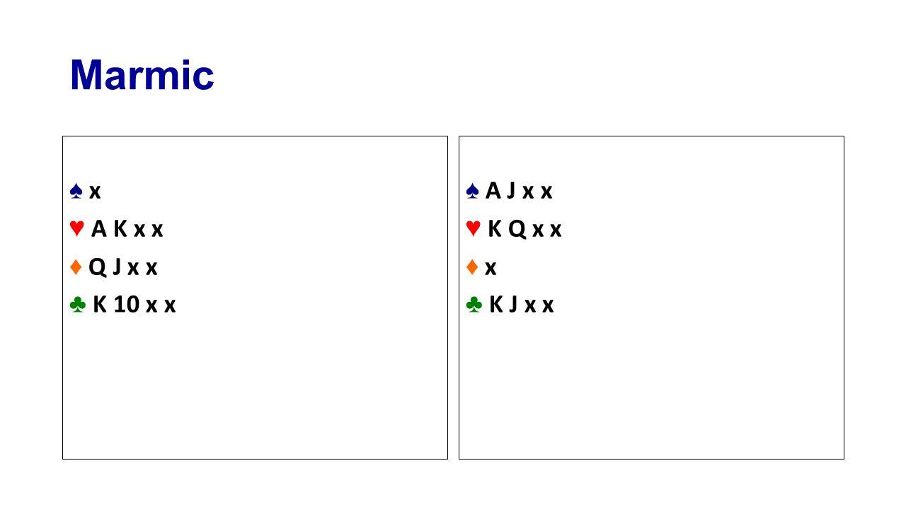 Marmic ♠ x ♥ A K x x ♦ Q J x x ♣ K 10 x x