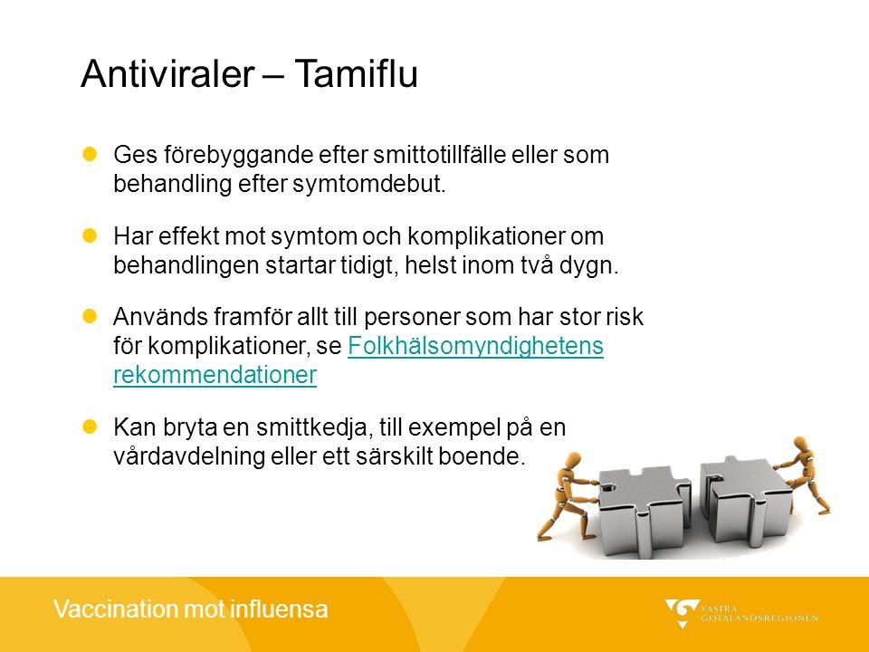 Antiviraler – Tamiflu Ges förebyggande efter smittotillfälle eller som behandling efter symtomdebut.