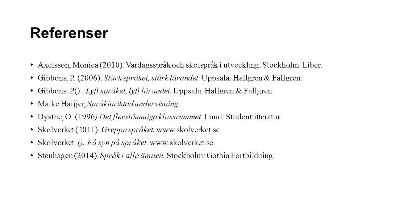 Referenser Axelsson, Monica (2010). Vardagsspråk och skolspråk i utveckling. Stockholm: Liber.