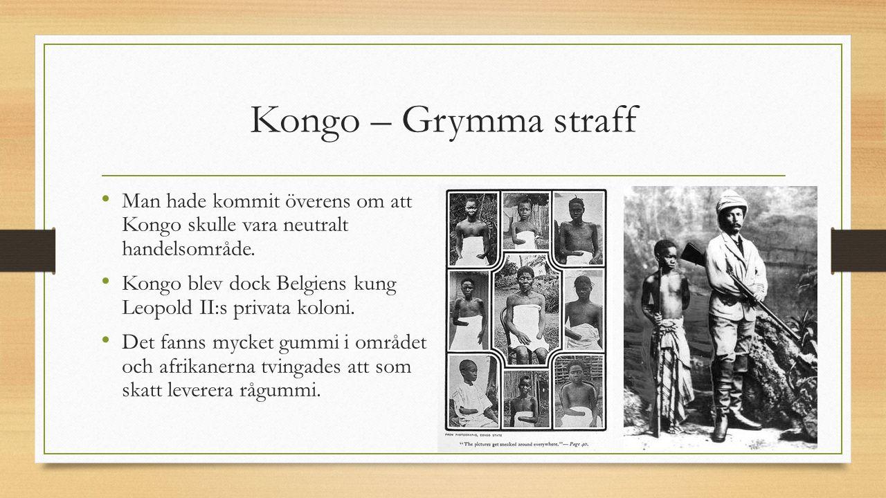 Kongo – Grymma straff Man hade kommit överens om att Kongo skulle vara neutralt handelsområde.
