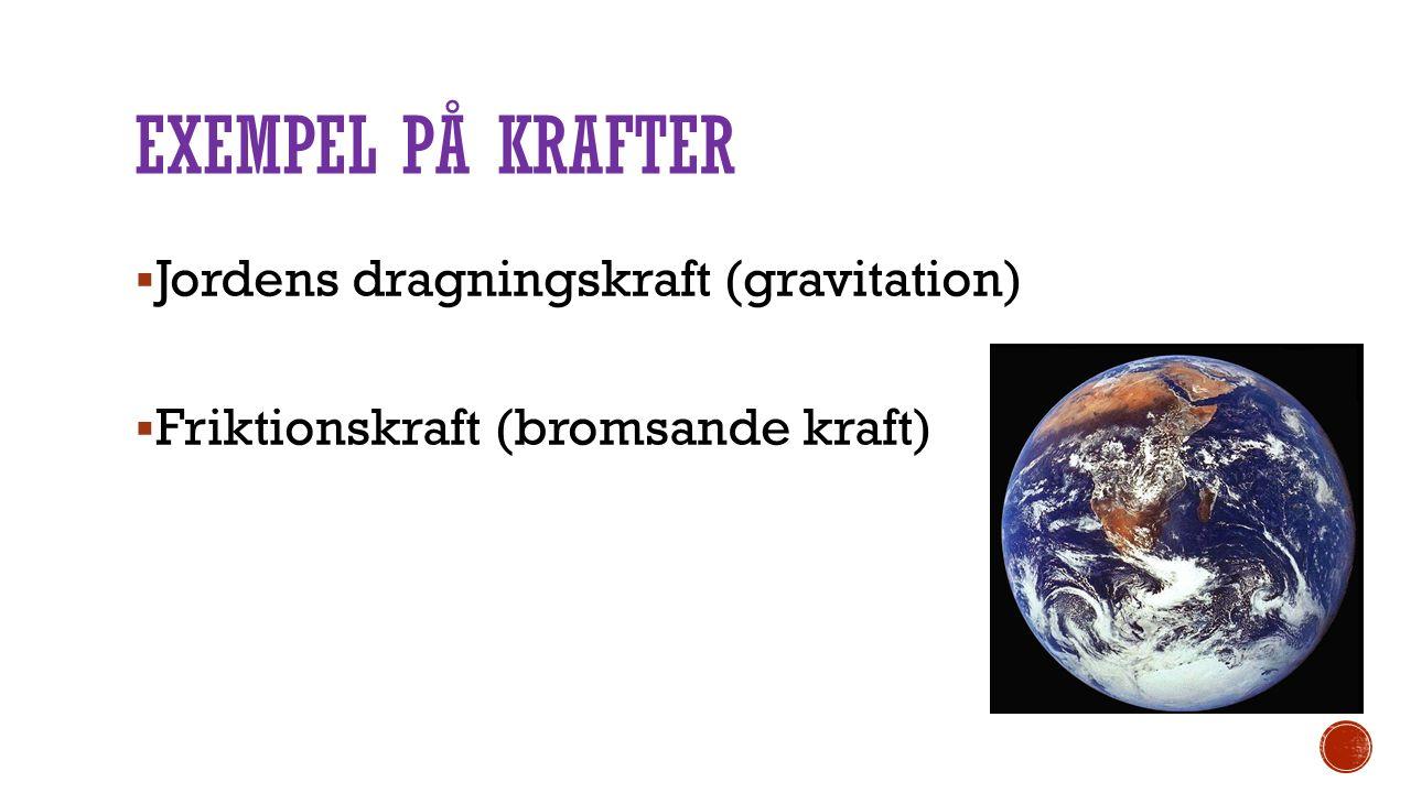 Exempel på krafter Jordens dragningskraft (gravitation)