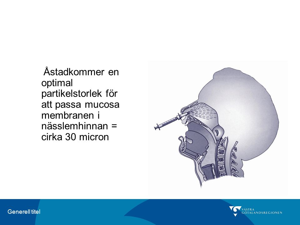 Åstadkommer en optimal partikelstorlek för att passa mucosa membranen i nässlemhinnan = cirka 30 micron