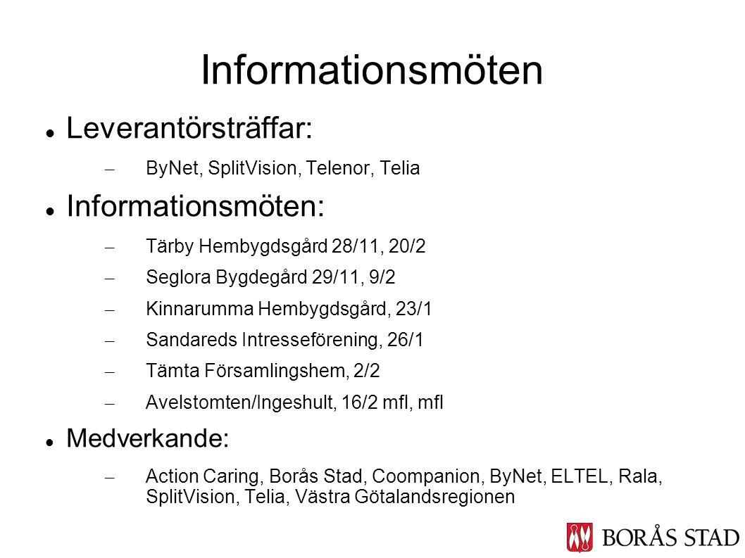 Informationsmöten Leverantörsträffar: Informationsmöten: Medverkande: