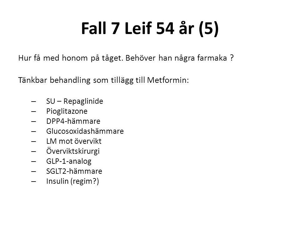 Fall 7 Leif 54 år (5) Hur få med honom på tåget. Behöver han några farmaka Tänkbar behandling som tillägg till Metformin: