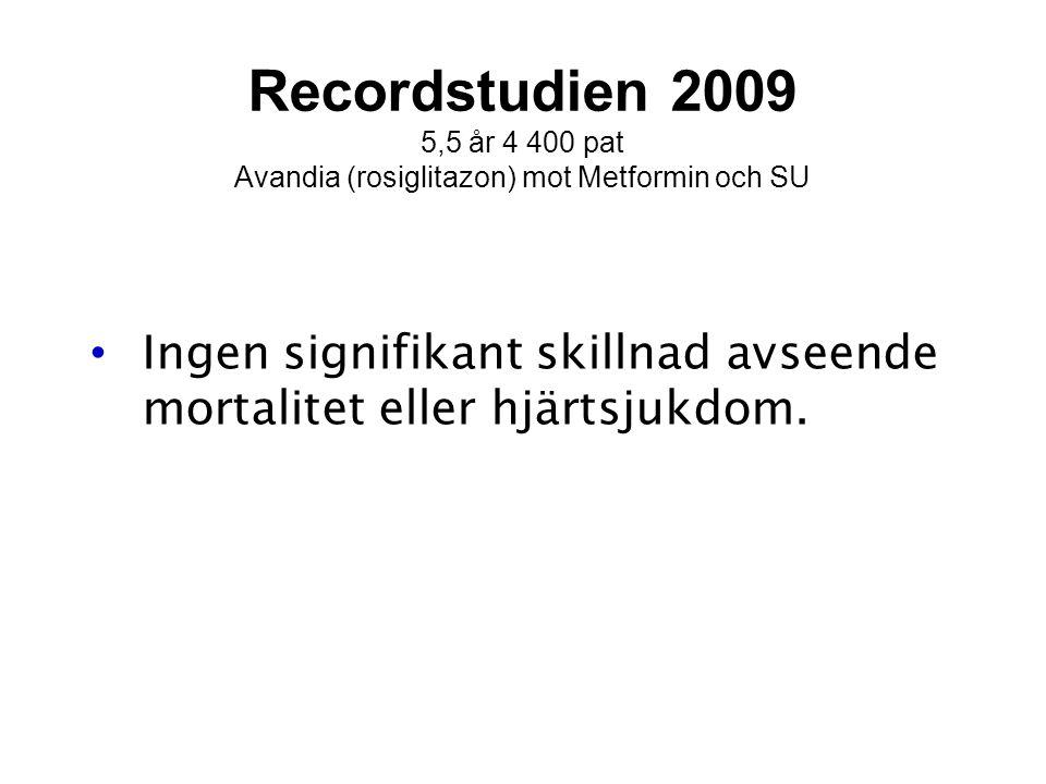 5,5 år 4 400 pat Avandia (rosiglitazon) mot Metformin och SU