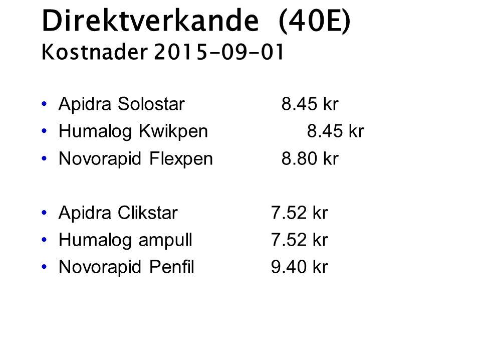 Direktverkande (40E) Kostnader 2015-09-01 Apidra Solostar 8.45 kr