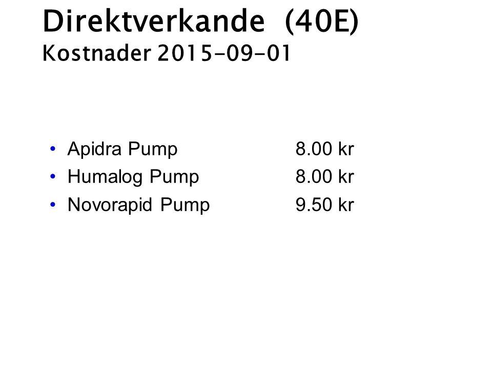 Direktverkande (40E) Kostnader 2015-09-01 Apidra Pump 8.00 kr