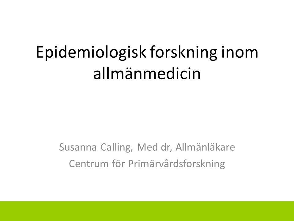 Epidemiologisk forskning inom allmänmedicin