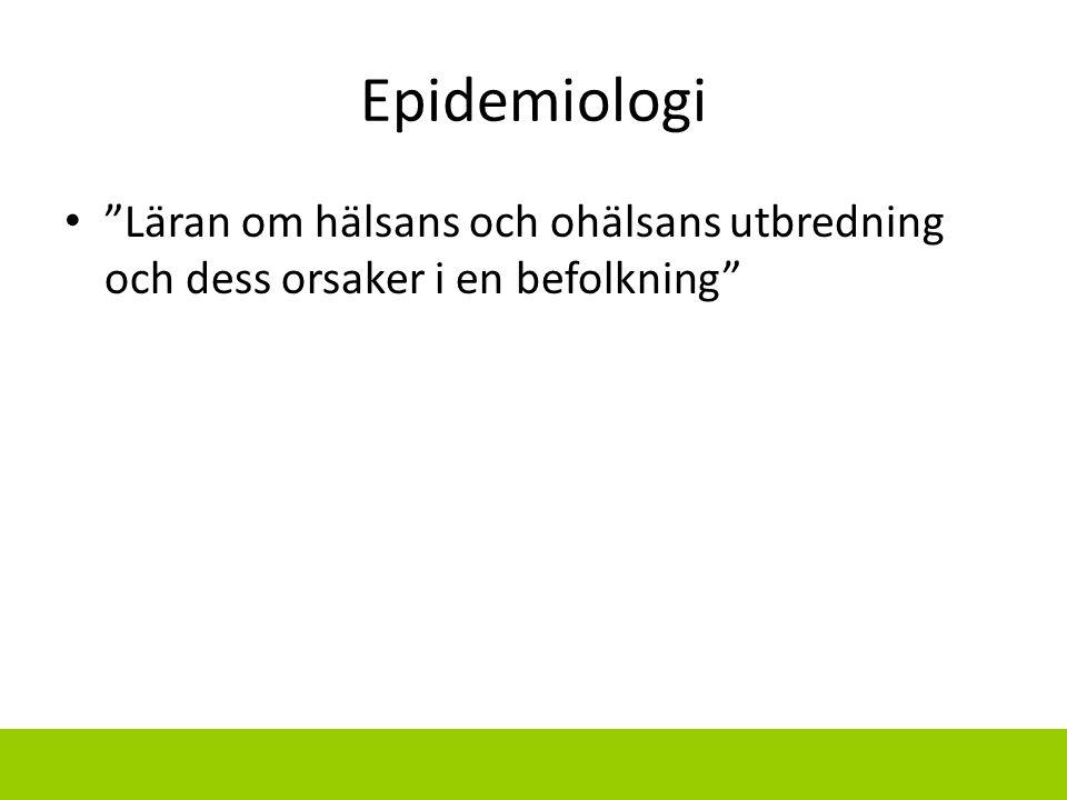 Epidemiologi Läran om hälsans och ohälsans utbredning och dess orsaker i en befolkning