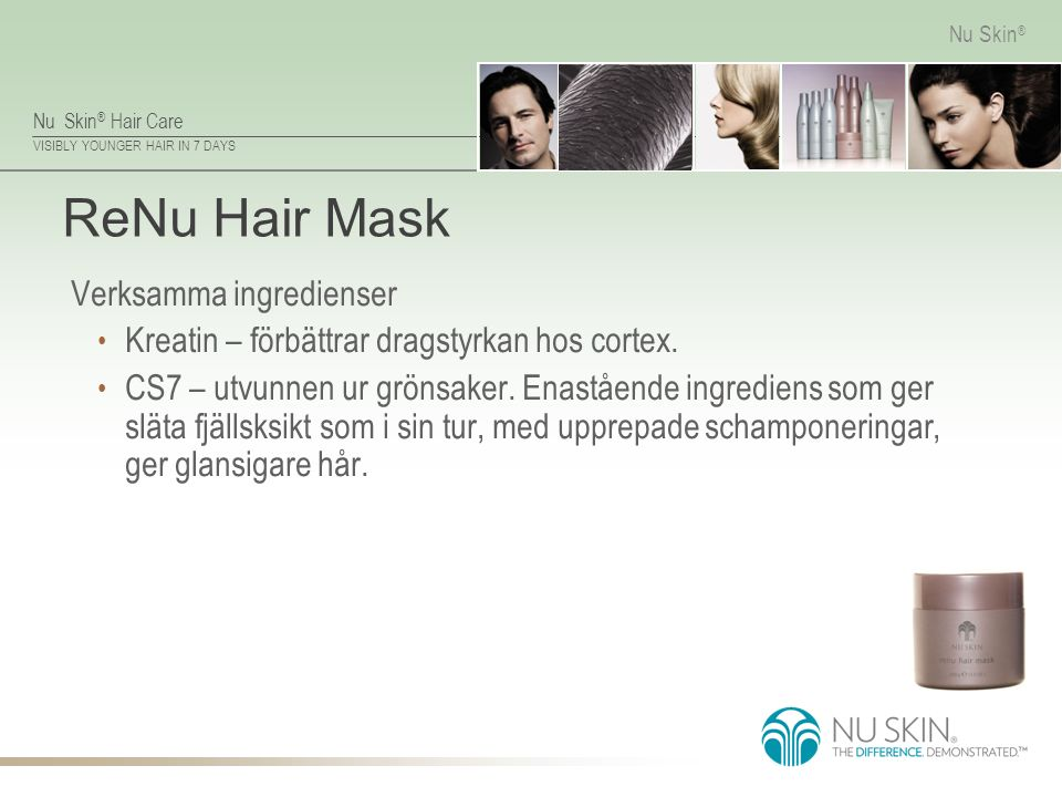 ReNu Hair Mask Verksamma ingredienser