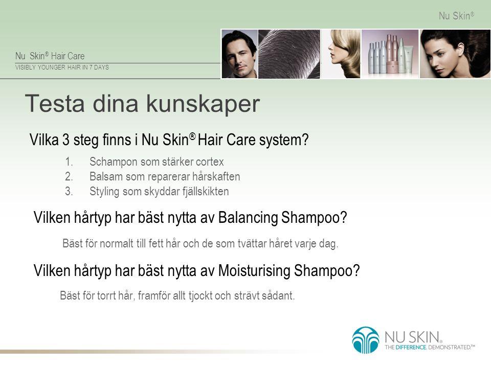 Testa dina kunskaper Vilka 3 steg finns i Nu Skin® Hair Care system