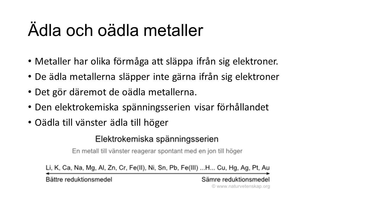 Ädla och oädla metaller