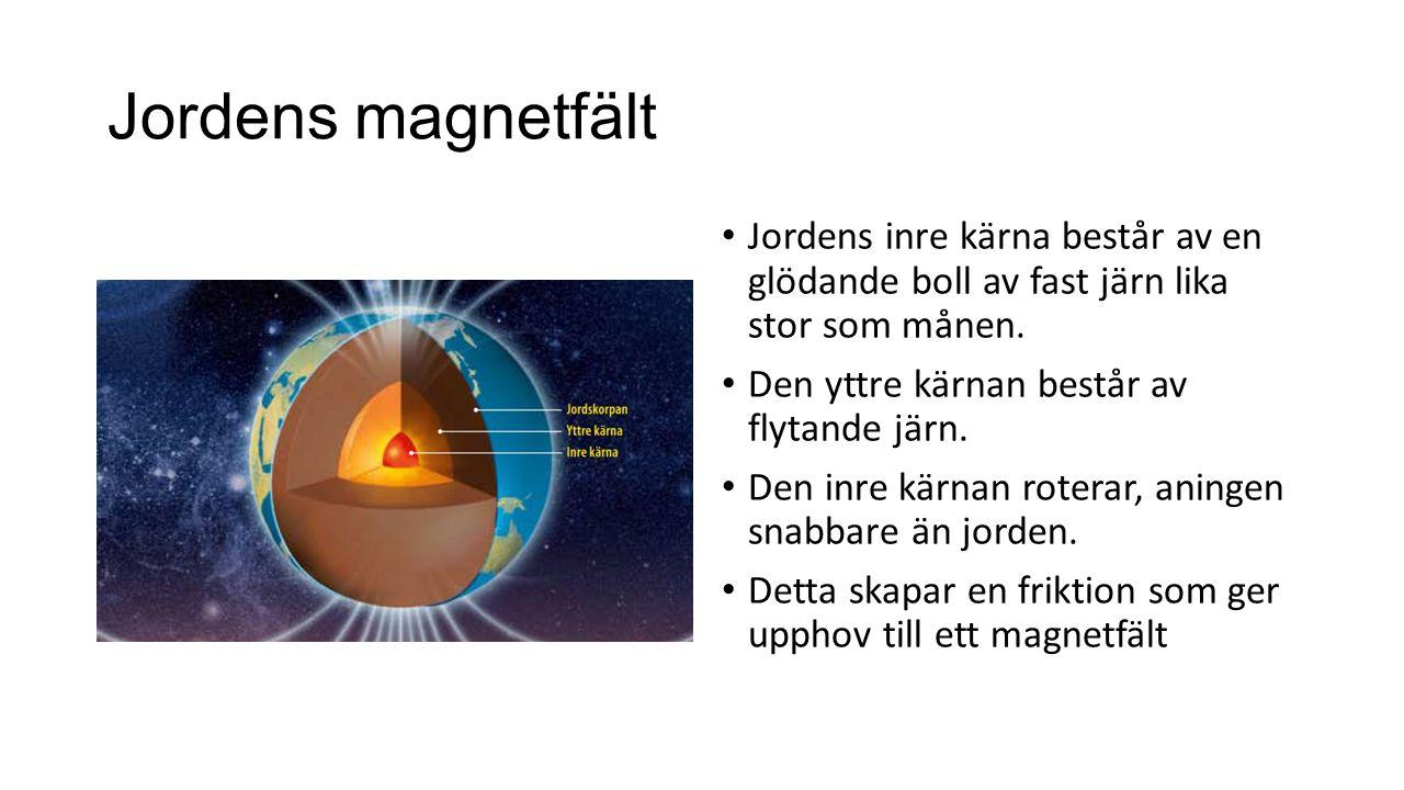 Jordens magnetfält Jordens inre kärna består av en glödande boll av fast järn lika stor som månen.