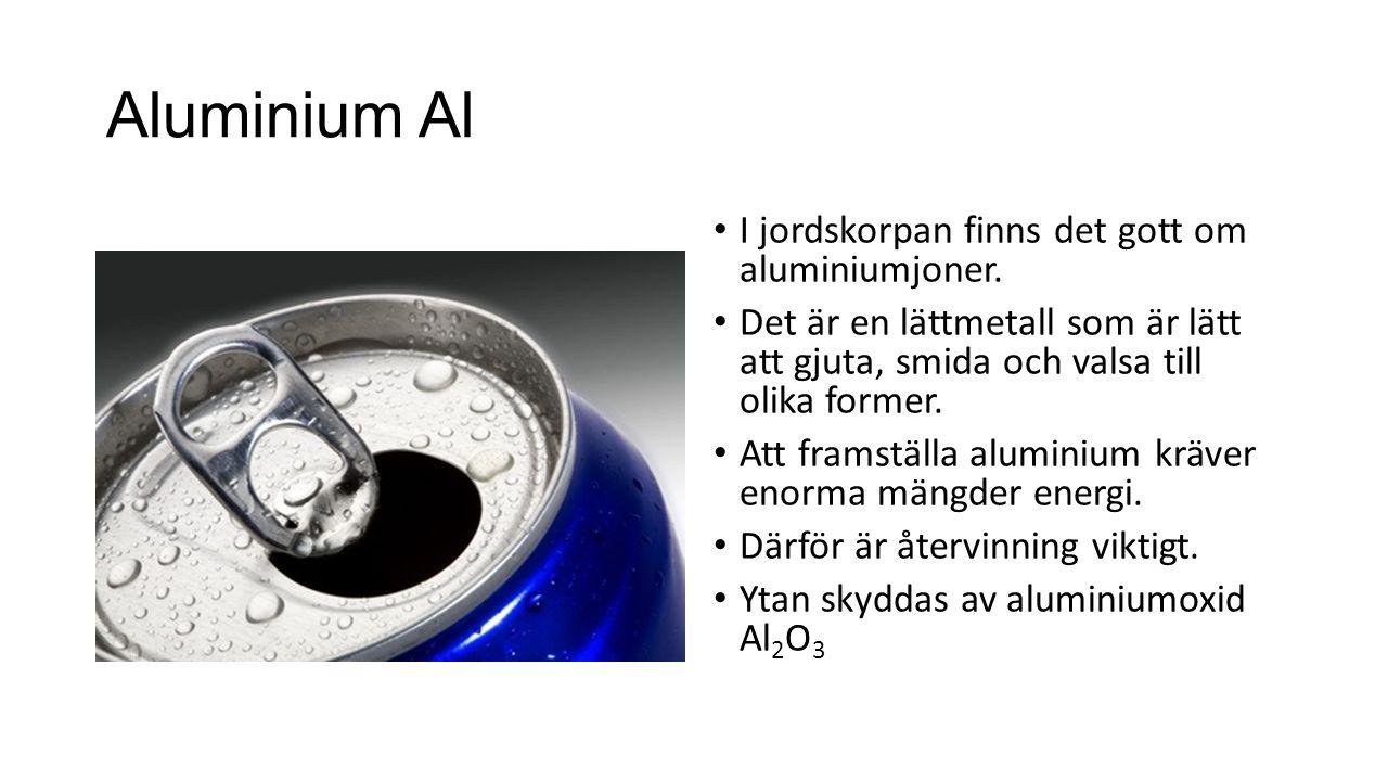 Aluminium Al I jordskorpan finns det gott om aluminiumjoner.