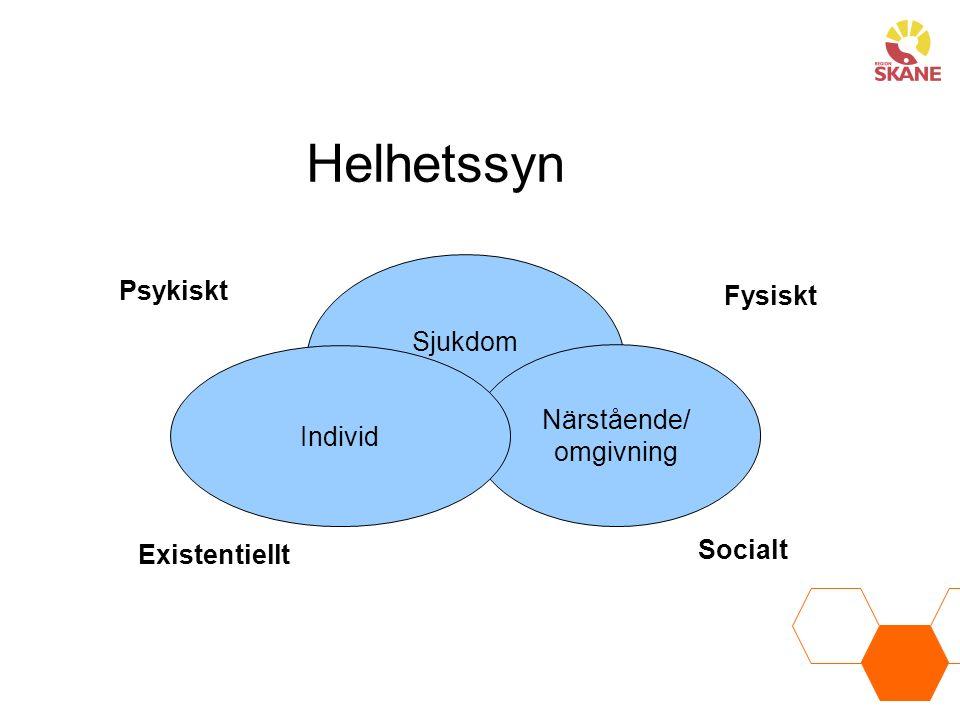 Helhetssyn Psykiskt Fysiskt Sjukdom Närstående/ Individ omgivning