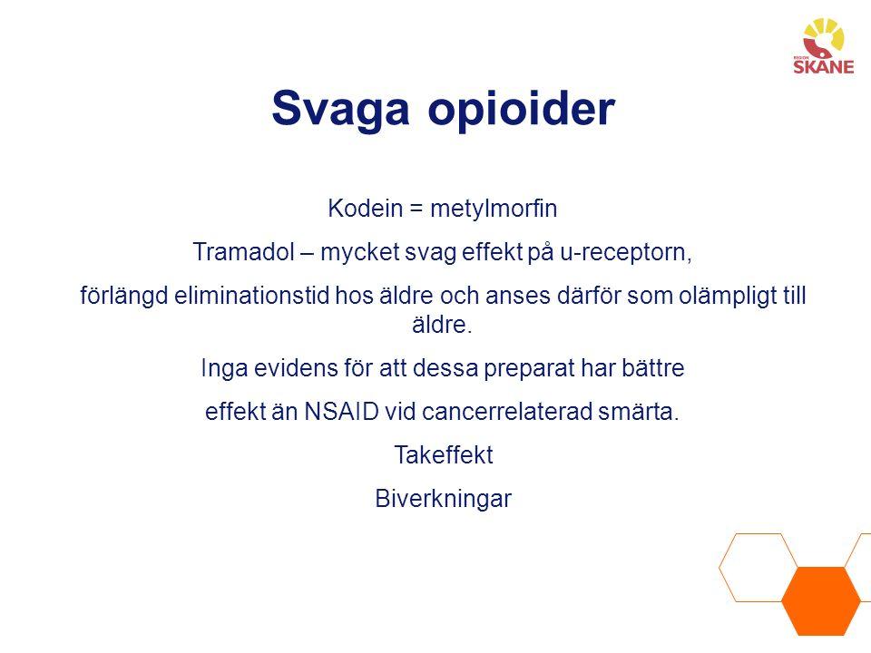 Svaga opioider Kodein = metylmorfin