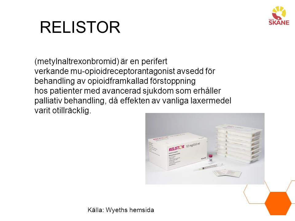RELISTOR (metylnaltrexonbromid) är en perifert