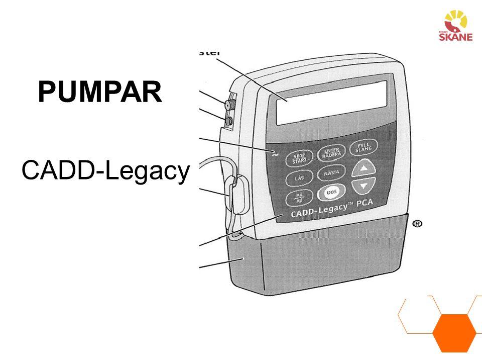 PUMPAR CADD-Legacy. Recept på läkemedel Till CADD-Legacy kassett skall innehålla. följande uppgifter: