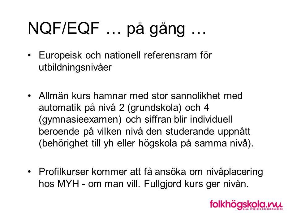 NQF/EQF … på gång … Europeisk och nationell referensram för utbildningsnivåer.