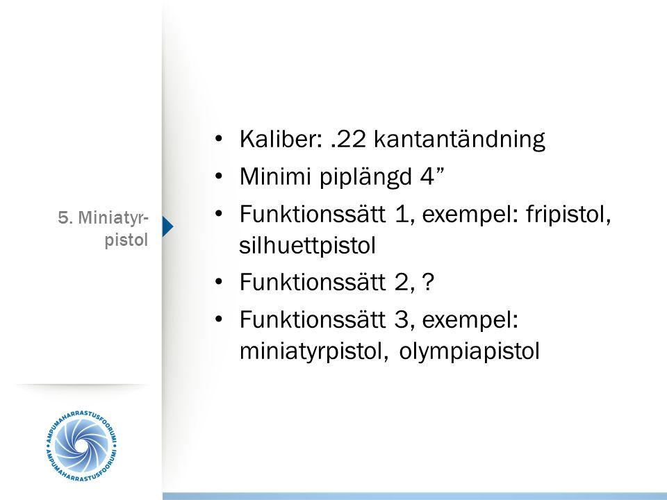 Kaliber: .22 kantantändning Minimi piplängd 4