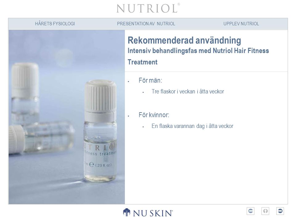 Rekommenderad användning Intensiv behandlingsfas med Nutriol Hair Fitness Treatment