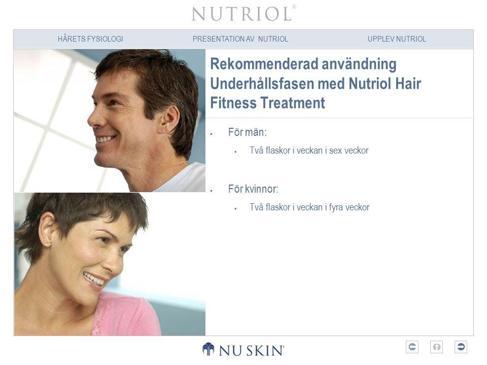Rekommenderad användning Underhållsfasen med Nutriol Hair Fitness Treatment