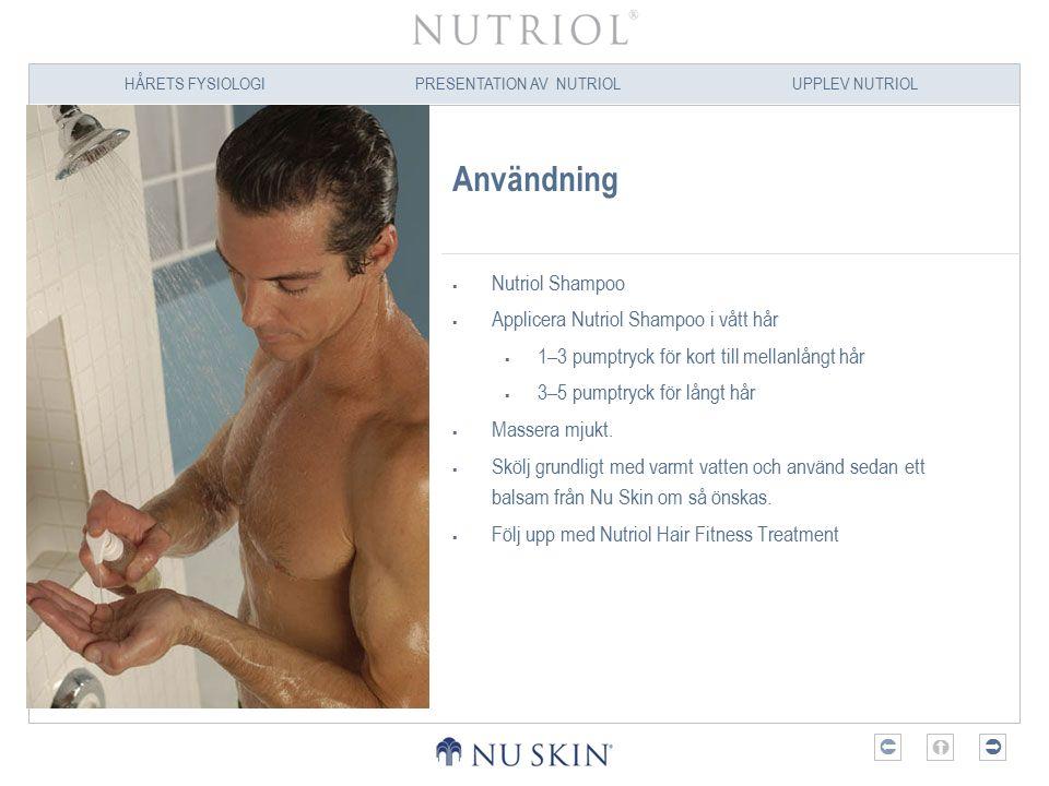 Användning Nutriol Shampoo Applicera Nutriol Shampoo i vått hår