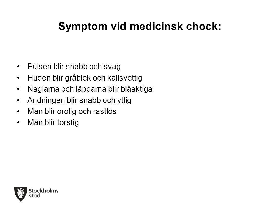 Symptom vid medicinsk chock: