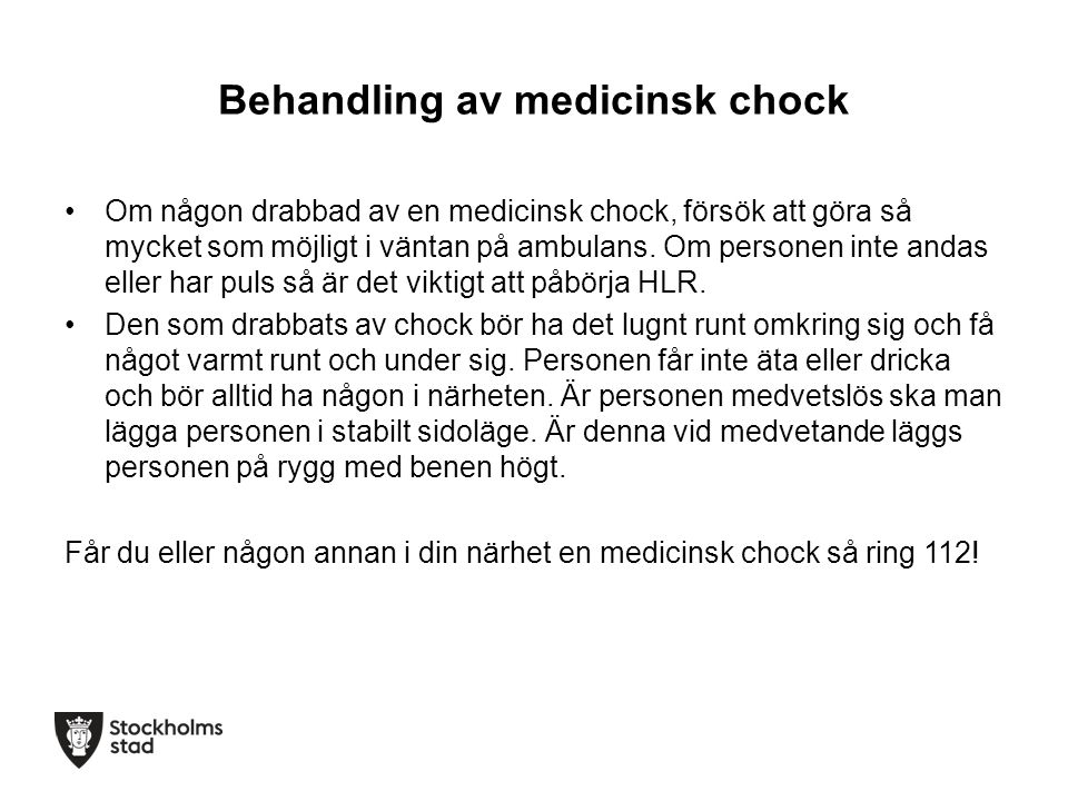 Behandling av medicinsk chock