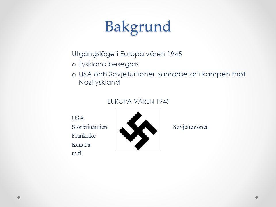 Bakgrund Utgångsläge i Europa våren 1945 Tyskland besegras