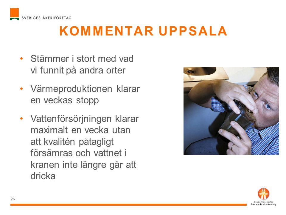 Kommentar Uppsala Stämmer i stort med vad vi funnit på andra orter