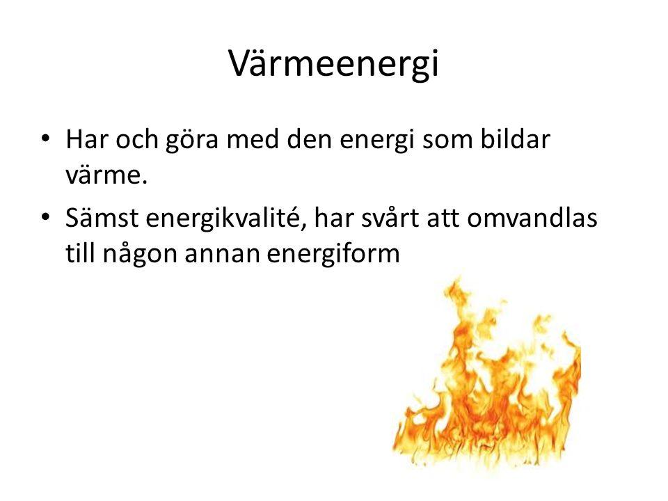 Värmeenergi Har och göra med den energi som bildar värme.