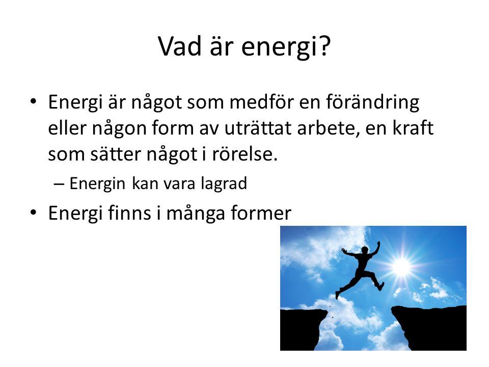 Vad är energi Energi är något som medför en förändring eller någon form av uträttat arbete, en kraft som sätter något i rörelse.