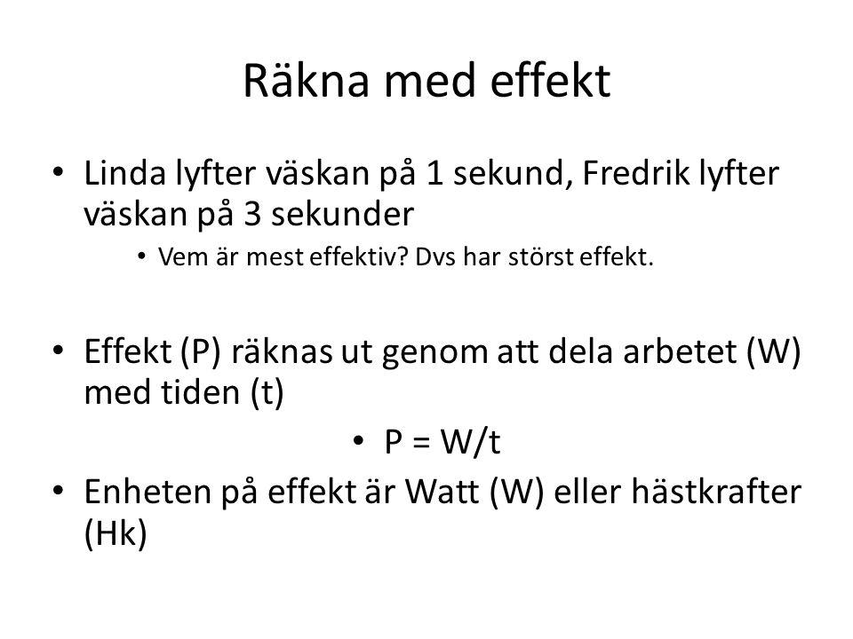 Räkna med effekt Linda lyfter väskan på 1 sekund, Fredrik lyfter väskan på 3 sekunder. Vem är mest effektiv Dvs har störst effekt.