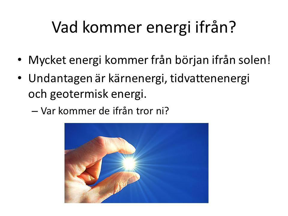 Vad kommer energi ifrån
