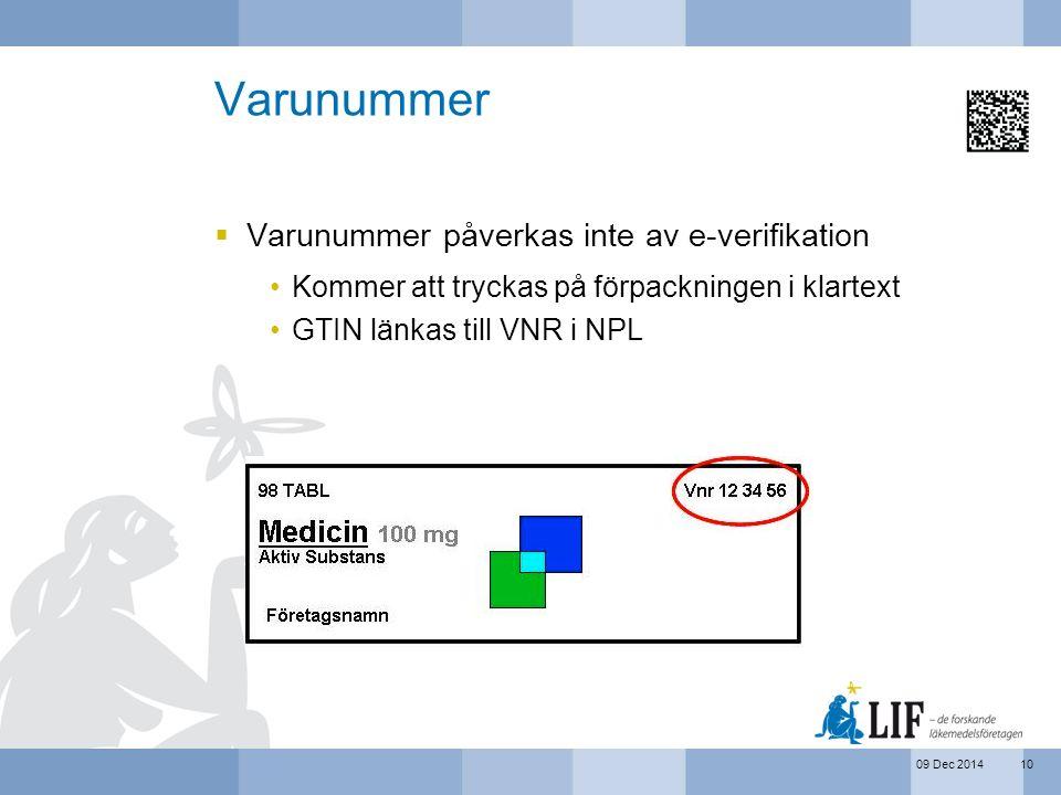 Varunummer Varunummer påverkas inte av e-verifikation