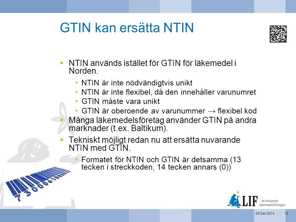 GTIN kan ersätta NTIN NTIN används istället för GTIN för läkemedel i Norden. NTIN är inte nödvändigtvis unikt.