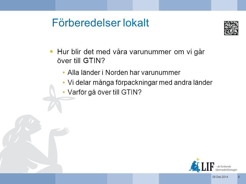 Förberedelser lokalt Hur blir det med våra varunummer om vi går över till GTIN Alla länder i Norden har varunummer.
