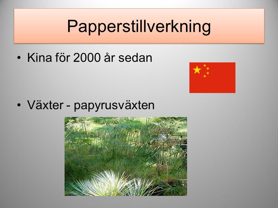Papperstillverkning Kina för 2000 år sedan Växter - papyrusväxten