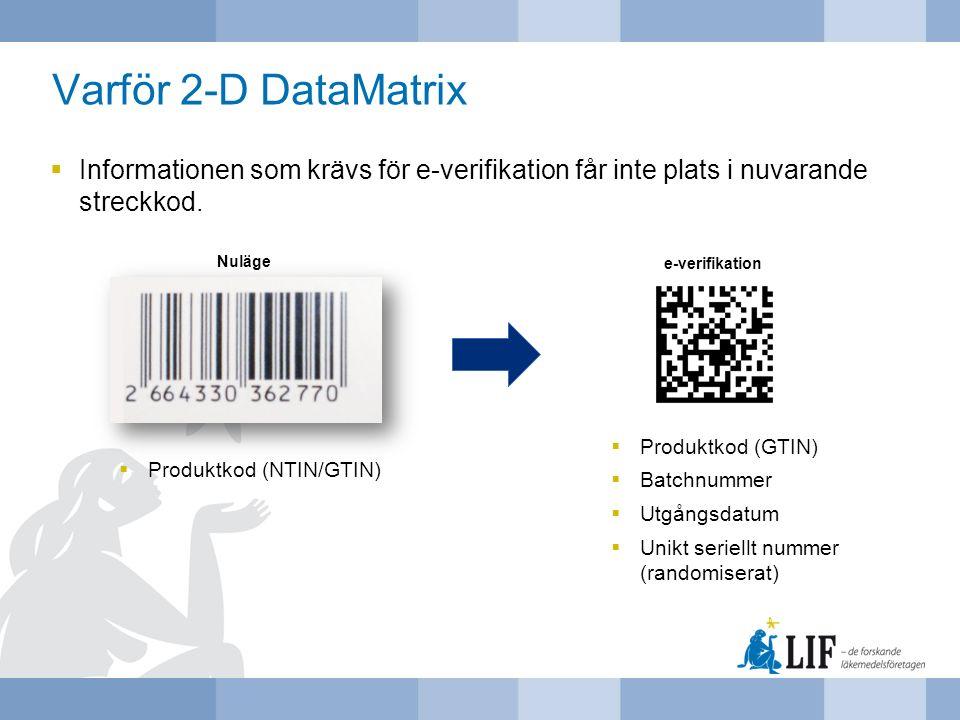 Varför 2-D DataMatrix Informationen som krävs för e-verifikation får inte plats i nuvarande streckkod.