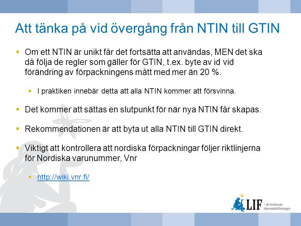 Att tänka på vid övergång från NTIN till GTIN