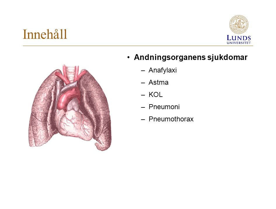 Innehåll Andningsorganens sjukdomar Anafylaxi Astma KOL Pneumoni