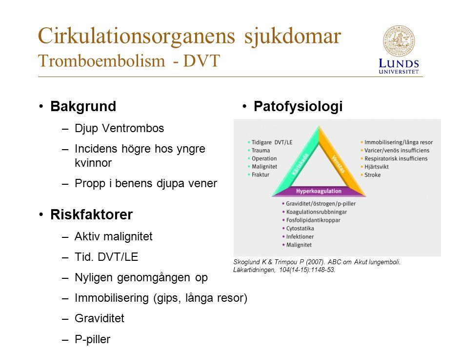 Cirkulationsorganens sjukdomar Tromboembolism - DVT