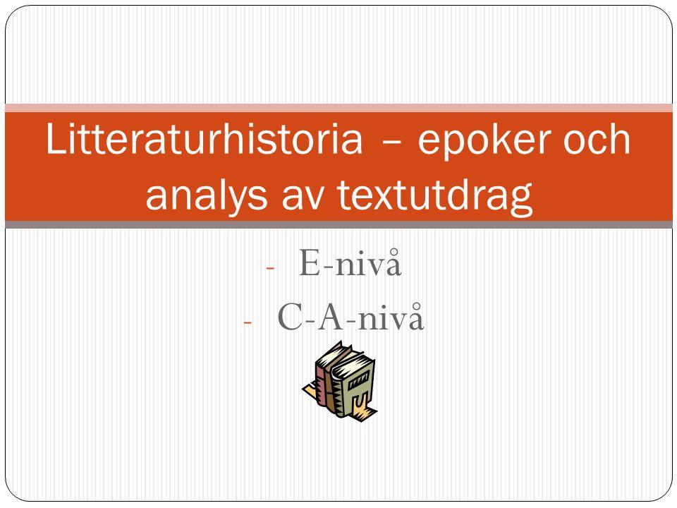 Litteraturhistoria – epoker och analys av textutdrag