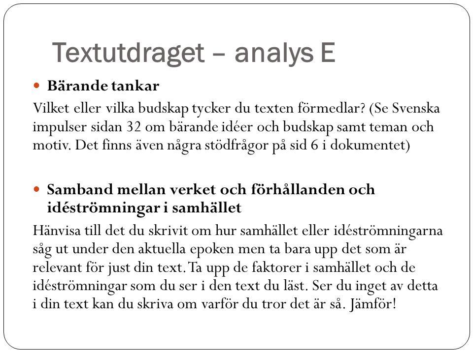 Textutdraget – analys E