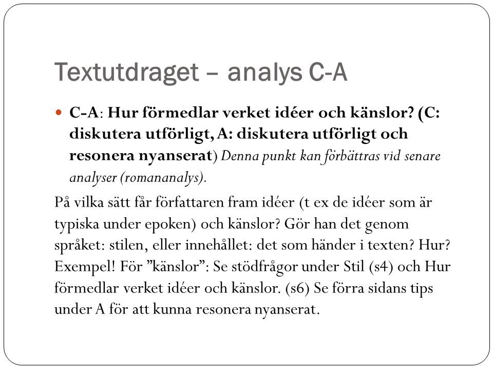Textutdraget – analys C-A