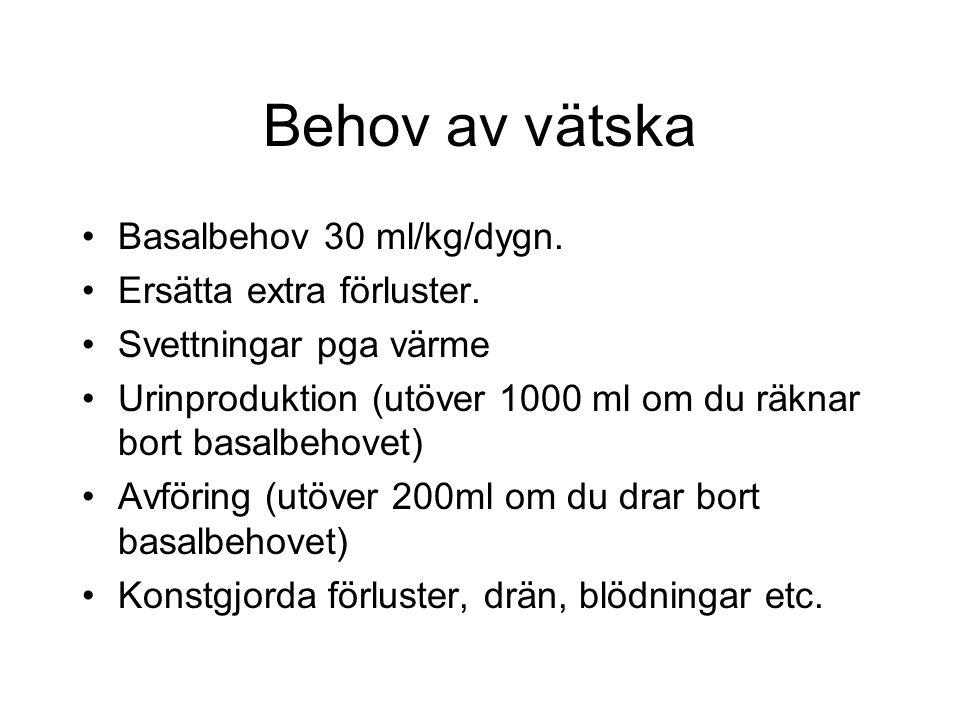 Behov av vätska Basalbehov 30 ml/kg/dygn. Ersätta extra förluster.