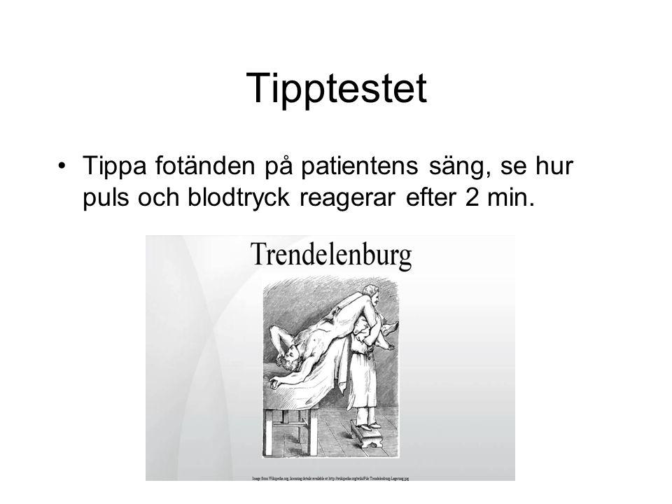 Tipptestet Tippa fotänden på patientens säng, se hur puls och blodtryck reagerar efter 2 min.